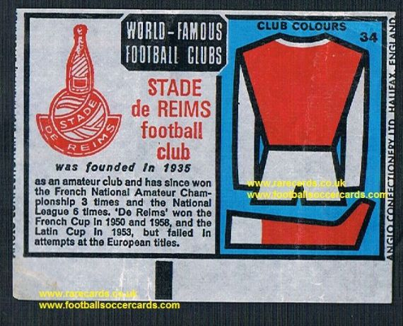1970 Anglo Gum waxy paper insert World Famous Football Clubs Stade Reims